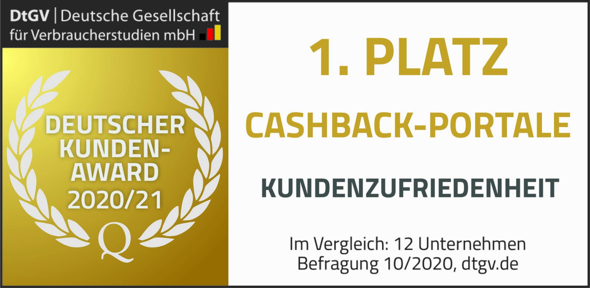 1. Platz Kundenzufriedenheit in der Branche Cashback-Portale